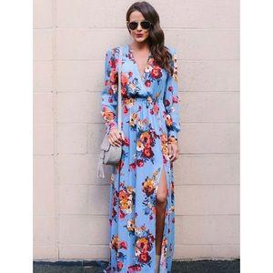 Floral Long Sleeve Tea Split Tie Waist Maxi Dress